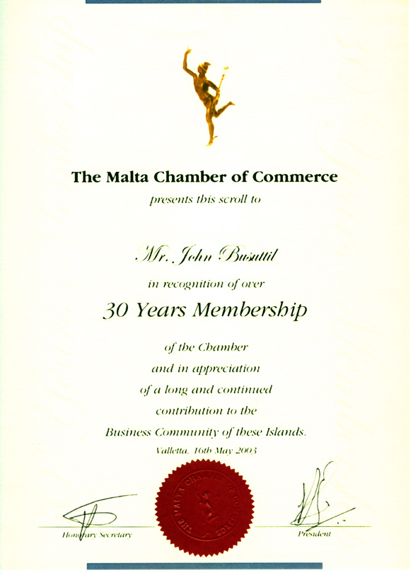 The award for Mr. John Busuttil in recognition of his work towards the Maltese Business Community