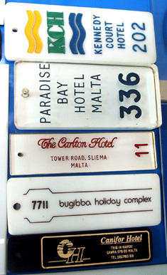 A number of our engraved hotel keychains showing the vast range of possibilities
