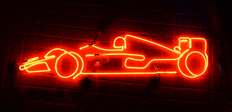 One of the most popular sports, Formula One in Red Neon